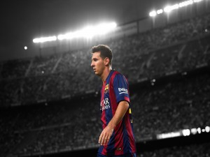 Messi jugando con el Barcelona
