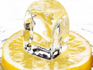 Cubito de hielo sobre una rodaja de limón