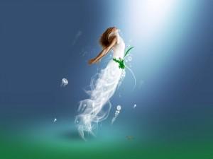 Fascinante sirena bajo el agua
