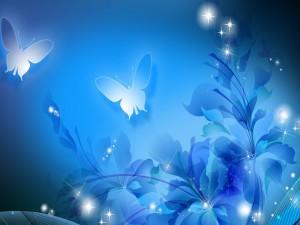 Mariposas volando entre las flores