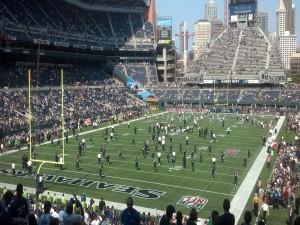 Jugadores en el estadio de los Seattle Seahawks