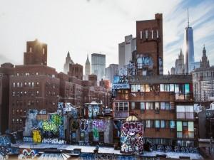 Graffitis en unos edificios de Nueva York