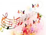Notas musicales con mariposas y flores