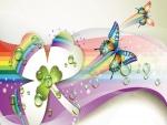 Tréboles y coloridas mariposas