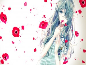 Chica anime pintándose los labios
