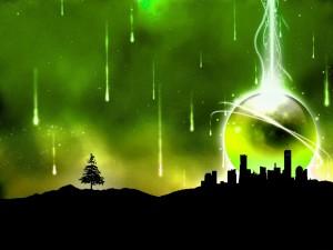 Cielo verde sobre la ciudad abstracta