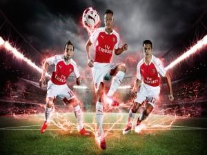 Tres jugadores del Arsenal F.C.