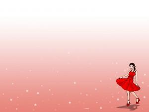 Chica con un vestido rojo