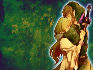 Link abrazado a Zelda (The Legend of Zelda)