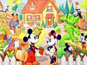 Mickey y Minni con sus amigos