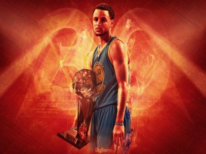 Stephen Curry con un trofeo