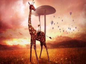 Niña sentada sobre la jirafa