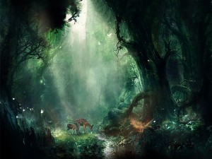 Dos cervatillos en el bosque