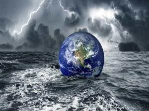 Tierra flotando en el agua