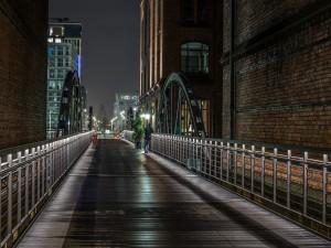 Puente en la noche de la ciudad de Hamburgo