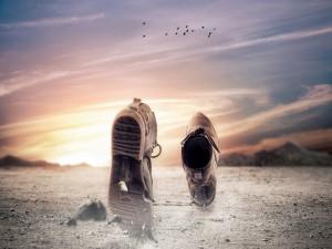Zapatos andando solos