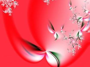 Pétalos de flores sobre un fondo rojo