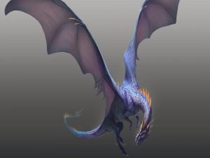 Dragón alado sobre un fondo gris