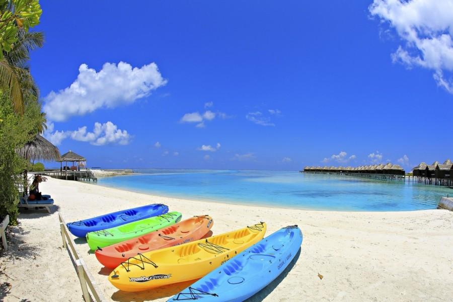 Kayaks en una playa tropical