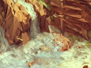 Polígonos formando una cascada