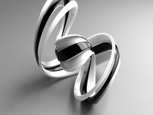 Metal retorcido en blanco y negro