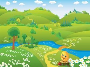 Río entre verdes colinas