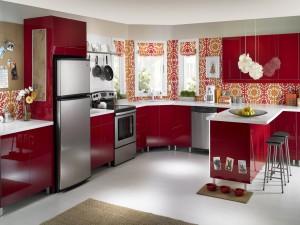 Muebles de cocina de color rojo