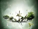 Los animales sobre un plato en el cielo