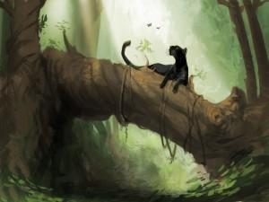 Pantera negra en el árbol