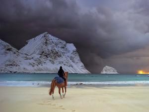 En la orilla de la playa al amanecer