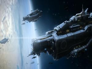 Naves espaciales militares orbitando un planeta