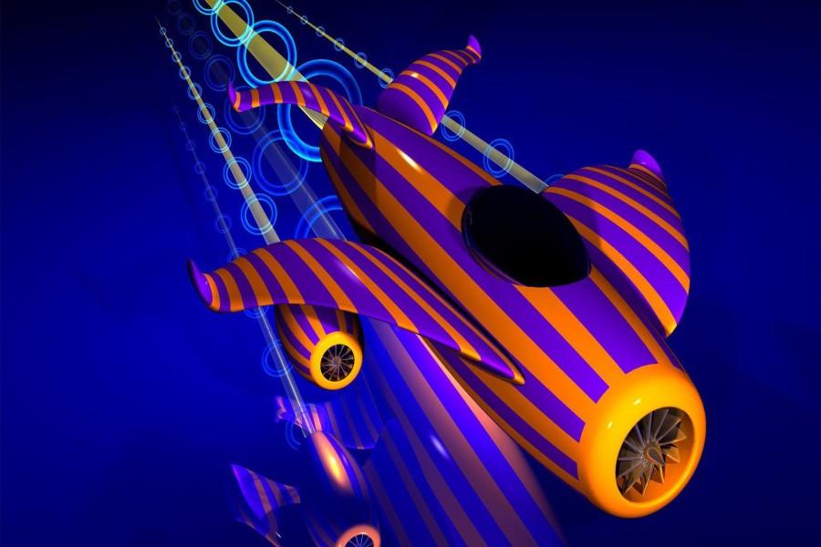 Colorido avión en 3D