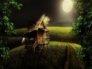 Pequeña casa de madera bajo la luz de la luna