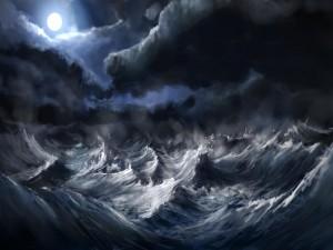 Luna que brilla sobre las olas