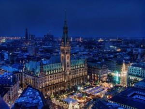 Visión nocturna de Hamburgo