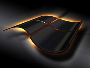 Logo 3D de Windows en negro