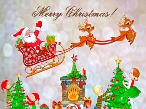 Papá Noel repartiendo regalos
