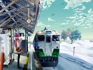 Chica en la estación de tren