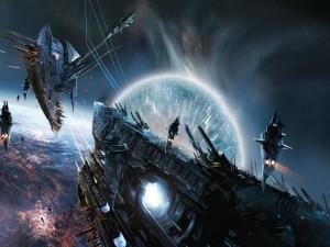 Naves espaciales huyendo de un planeta en explosión