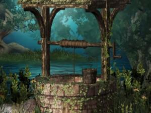 Pozo viejo en un bosque mágico