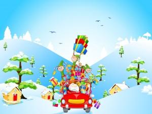 Santa Claus y los duendecillos con regalos