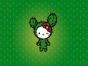 Hello Kitty disfrazada de cactus