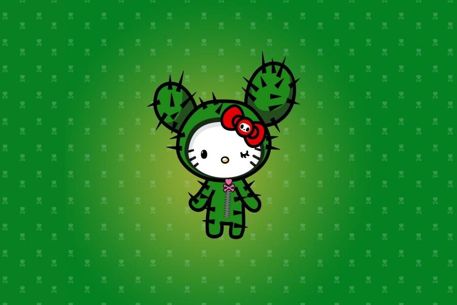 Hello Kitty disfrazada de cactus
