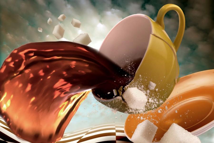Taza de café con terrones de azúcar