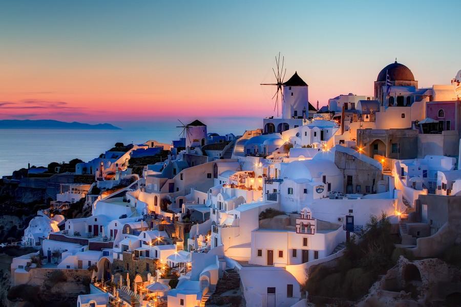 Casas al atardecer (Santorini, Grecia)