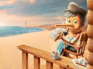Pinocho en la playa