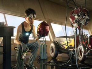 Tony Stark trabajando en su traje de Iron Man
