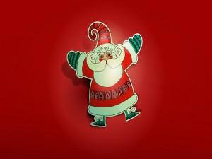 Divertido Santa Claus en fondo rojo