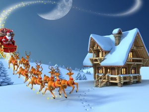 Papá Noel llega en su trineo