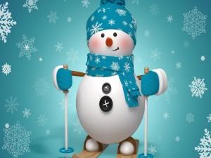 Muñeco de nieve listo para esquiar